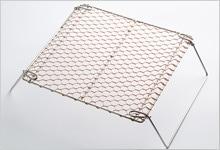 銅手編み 足付焼網 銅×ステンレス