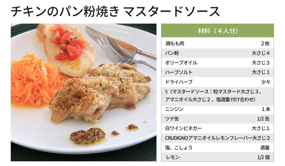 チキンのパン粉焼きマスタードソース