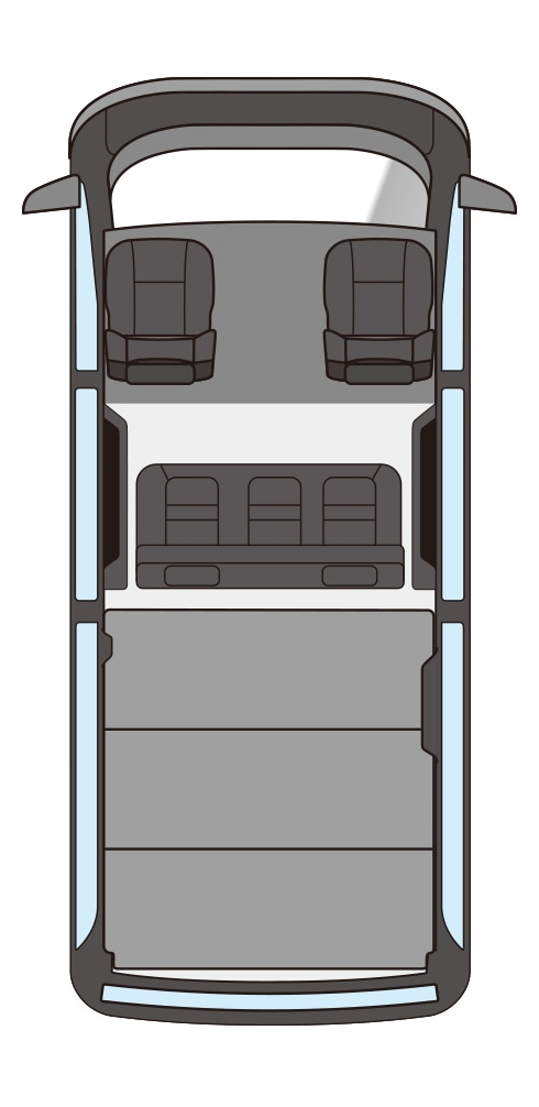 ユーアイビークル/UIvehicle ハイエース/HIACE コンプリートカー:快適車中泊パッケージ 座席配置漫画