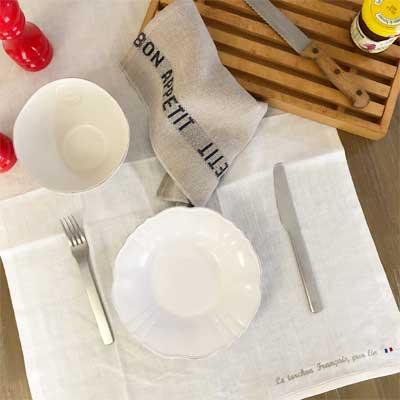 フランス製ティータオルはラメゾンドレイル,フランスファブリックのシャルベエディション