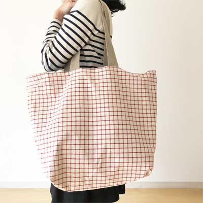 フランス製のトートバッグはリネンのチェック柄。軽くて丈夫なリネントートバッグ。通販はこちら