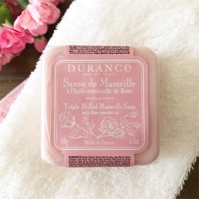 フランスの石鹸ブランド・デュランスからダマスクローズのかわいい石鹸。
