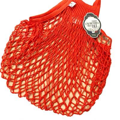 オレンジの鮮やかなfiltネットバッグをエコバッグに