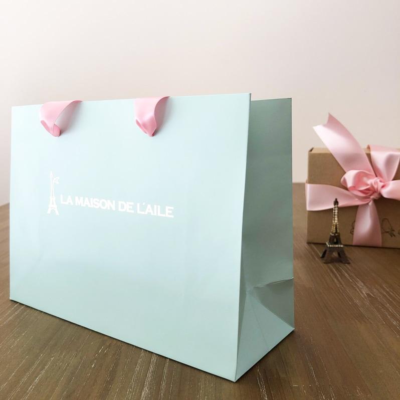 おしゃれなギフトラッピング用手提げ袋の通販。ピンクリボンとミントカラーがかわいいプレゼント用手提げ袋です。