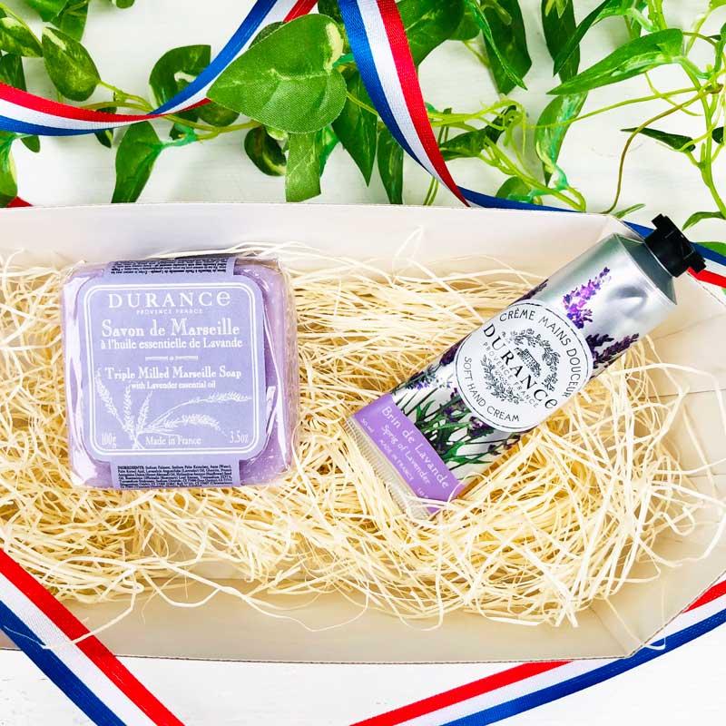 デュランス・ラベンダの香りのハンドクリームと石鹸のギフトセット。お誕生日プレゼントにおすすめ。横浜山手フランス雑貨ラメゾンドレイル公式通販