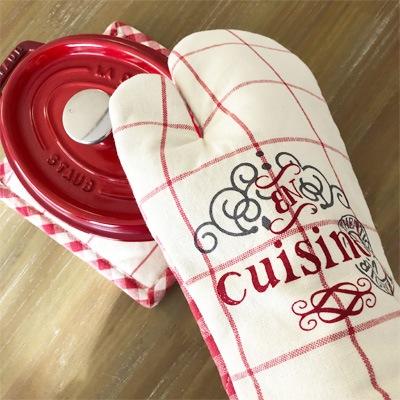 フランス雑貨のラメゾンドレイル,チェック柄の鍋つかみ