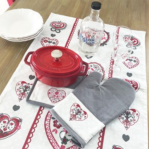 フランス直輸入 花柄の鍋つかみ&鍋敷きセット