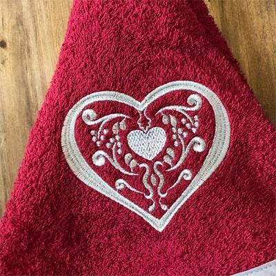 円形タオル,クリスマスギフト,ハート刺繍