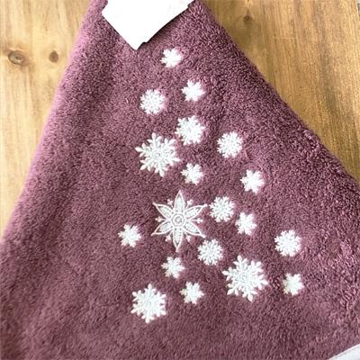 円形タオル,クリスマスギフト,雪の結晶の刺繍
