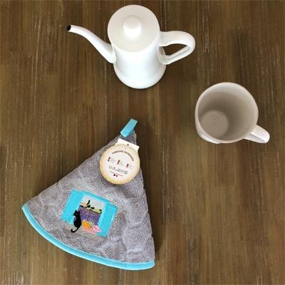 プロヴァンス円形タオル,ネコとラベンダー畑柄円形タオル,プロヴァンス雑貨