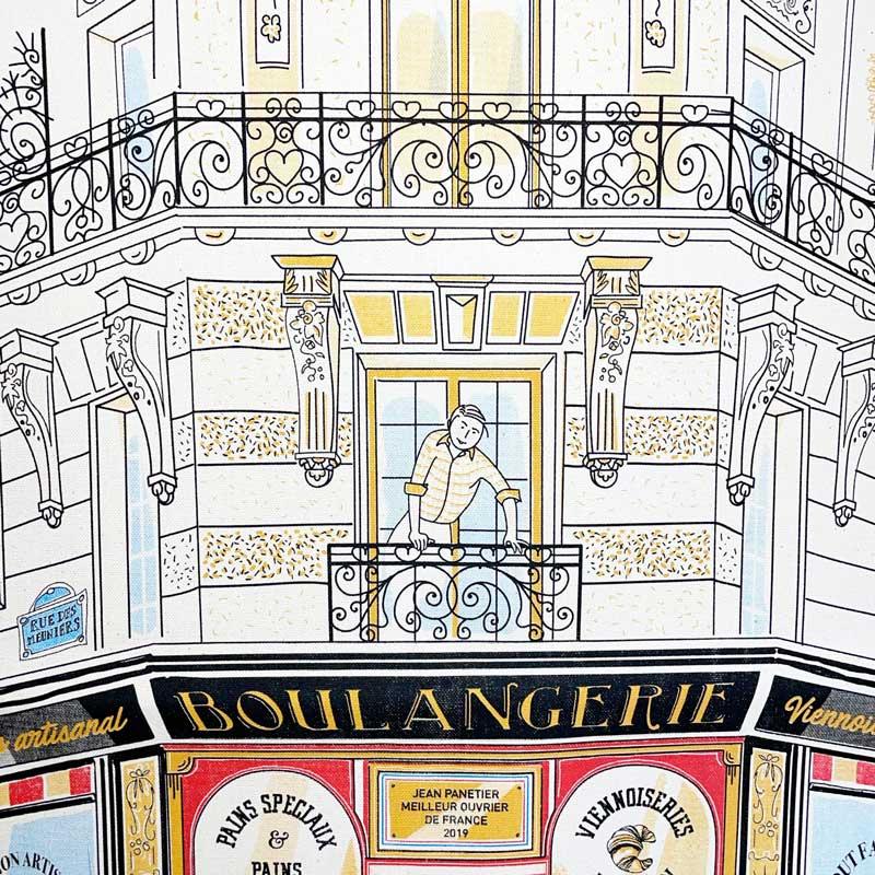 パリのパン屋さんのティータオル。ポスターに。お皿の水切りに。フランス雑貨通販ラメゾンドレイル