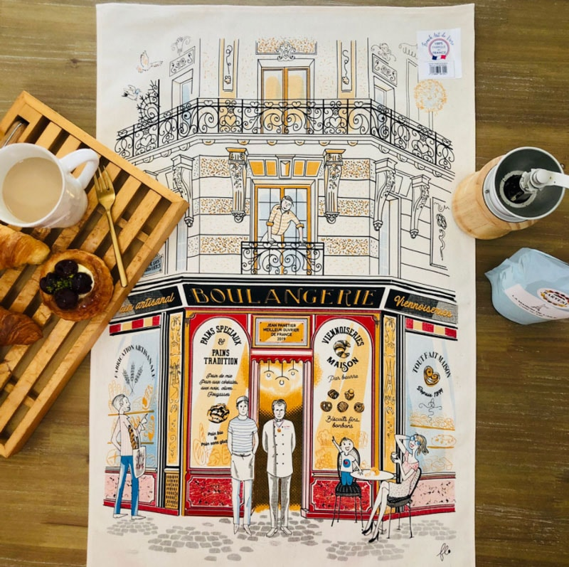 ティータオル通販。フランス直輸入・パン屋さんをテーマにしたティータオル。ポスターにお皿の水切りにお店の備品に。横浜フランス雑貨通販ラメゾンドレイル