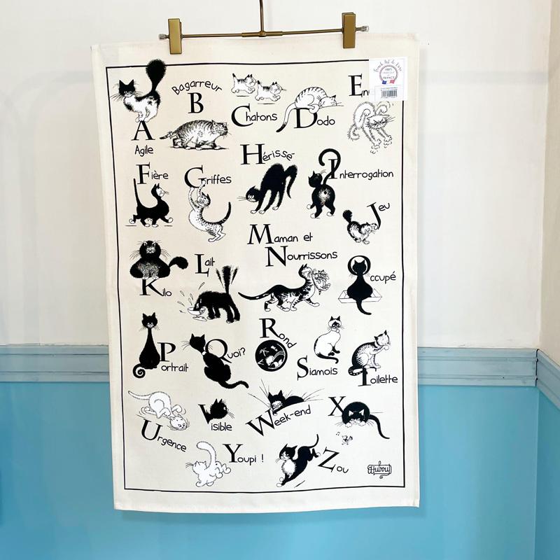 猫のティータオル。ファブリックポスターにも。フランス語の勉強にも。フランス雑貨通販ラメゾンドレイル