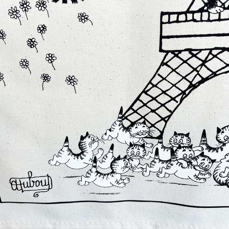 猫がエッフェル塔にのぼるティータオル。ポスターにランチョンマットに家電の目隠しに。フランス雑貨通販ラメゾンドレイル