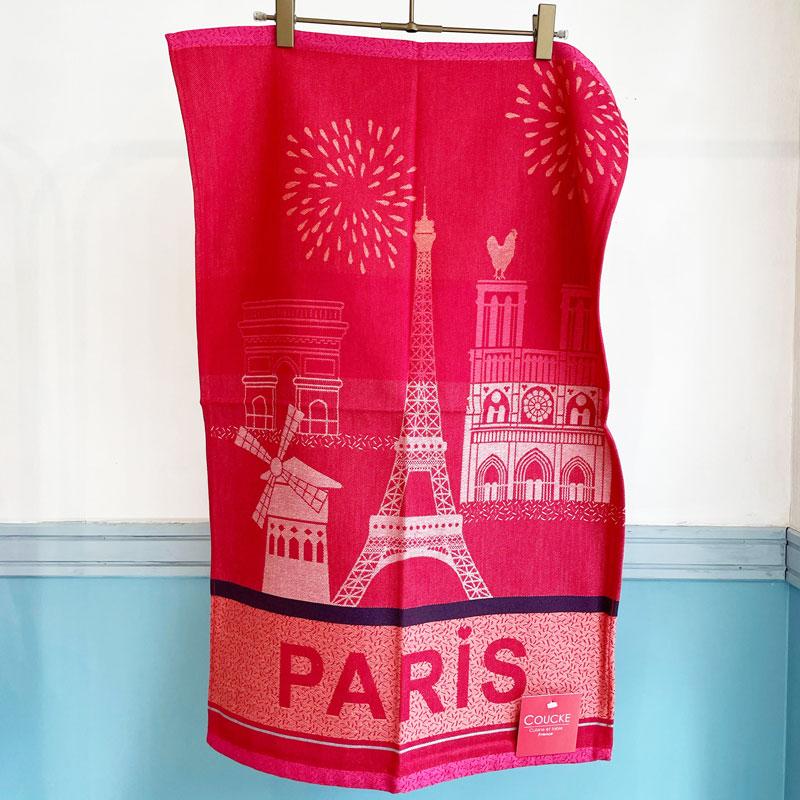 クーケのジャガード織りティータオル通販。パリの観光地がかわいいティータオル。