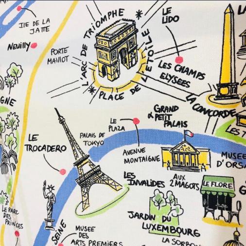 パリの近代建築が載ったパリの地図のティータオル。フランスから直輸入。横浜山手フランス雑貨ラメゾンドレイル公式通販