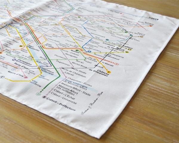 パリのメトロ・地下鉄路線図をモチーフにしたティータオルで旅気分