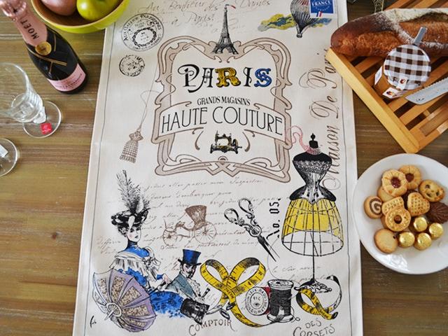 フランス・パリのオートクチュールをモチーフにしたティータオル。ポスターにインテリアに。横浜山手フランス雑貨・ラメゾンドレイル公式通販