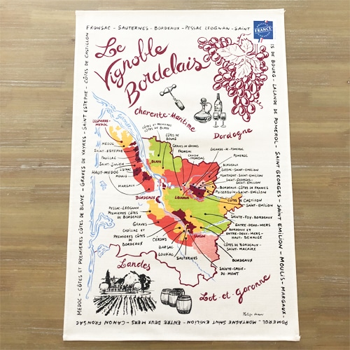 フランスティータオル,ワイングッズ,ボルドーワイン地図