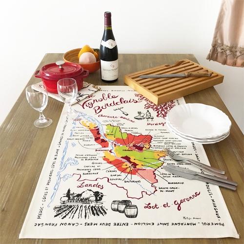 フランス雑貨,ワイングッズ,フランスティータオル,ボルドーワイン地図