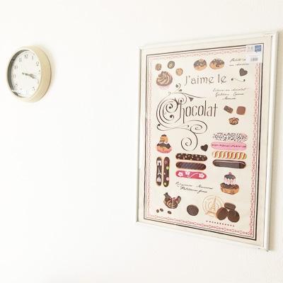 エクレアのティータオルをポスターに。かわいいフランスのお土産。横浜山手フランス雑貨ラメゾンドレイル