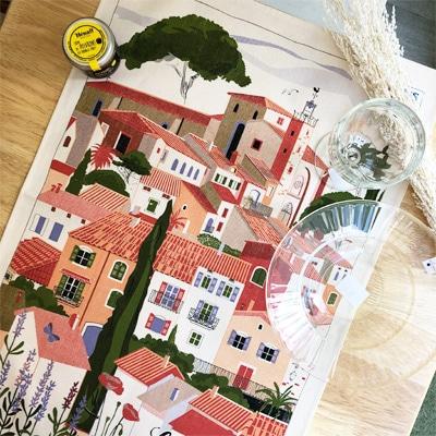 南フランスをモチーフにしたフランス製ティータオル通販。お皿の水切り・ポスターに。フランス雑貨通販・横浜山手ラメゾンドレイル