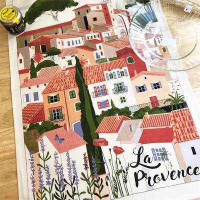 南フランスをモチーフにしたフランス製ティータオル。お皿の水切り・ポスターに。フランス雑貨通販・横浜山手ラメゾンドレイル