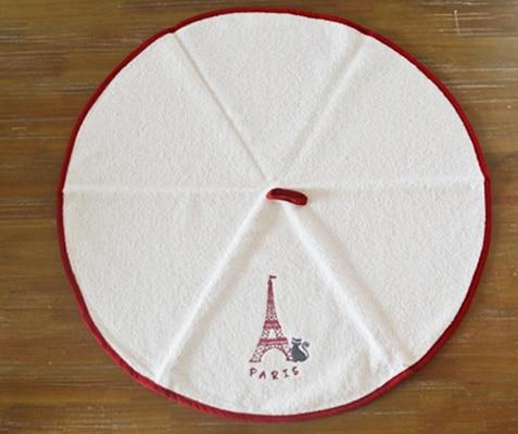 エッフェル塔と猫の円形タオル ホワイト