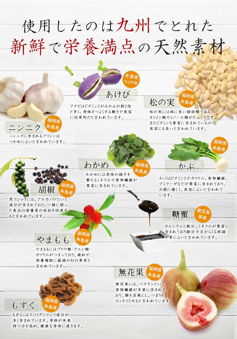 福岡県糸島や九州圷でとれた新鮮な天然素材を用いたココナッツ酵素飲料自然力