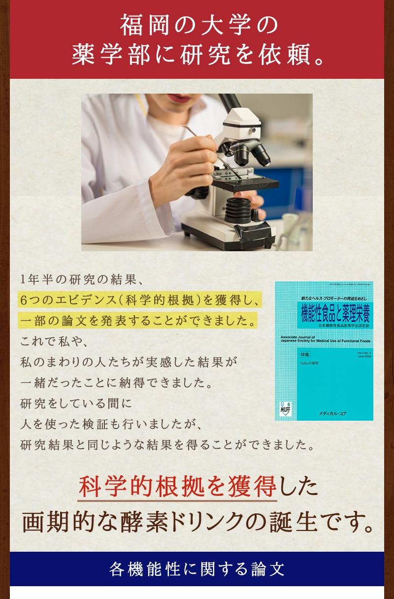 ココナッツ酵素でなぜ気になる数値が変化したのか、福岡の大学の薬学部に研究を依頼。6つのエビデンス(科学的根拠)を獲得し、一部の論文を発表することができました。科学的根拠を獲得した画期的な酵素ドリンクの誕生です。