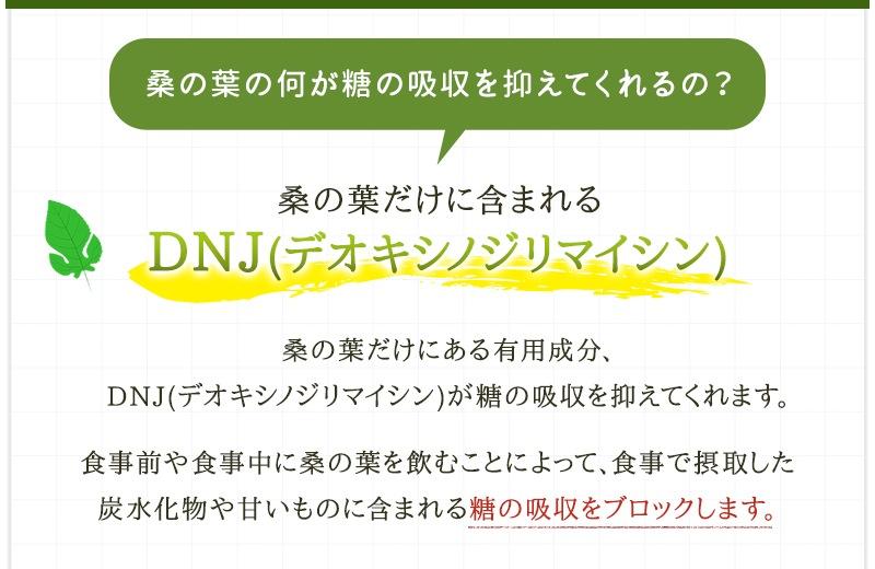 桑の葉だけに含まれる成分DNJ(デオキシノジリマイシン)が糖の吸収を抑えます。食事で摂取した炭水化物や甘いものに含まれる糖の吸収をブロックします。