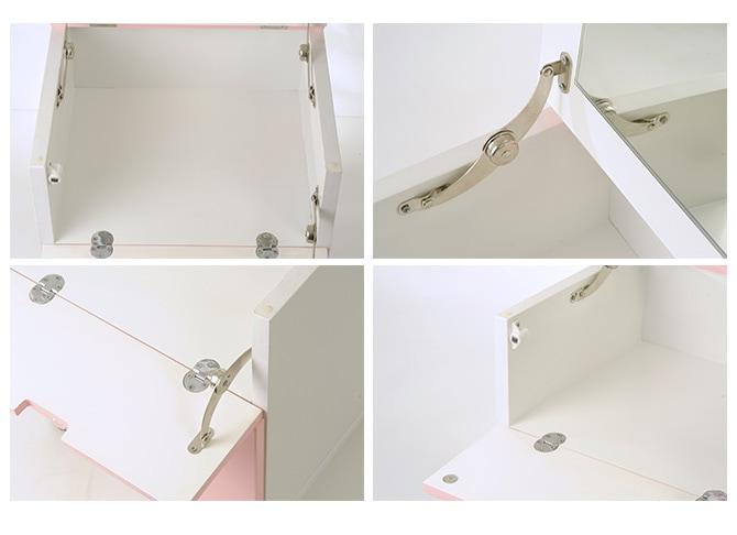 ドレッサー コスメボックス クリスタル   完成品 コスメワゴン キャスター付き ワゴン 一面鏡 アンティーク 白 ホワイト コンパクト 姫系 かわいい