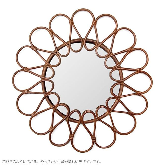amabro アマブロ RATTAN MIRROR(ラタンミラー) HANA(ハナ)  ミラー 鏡 壁掛けミラー ラタン ヨーロッパ インテリア 伝統 ナチュラル おしゃれ アート