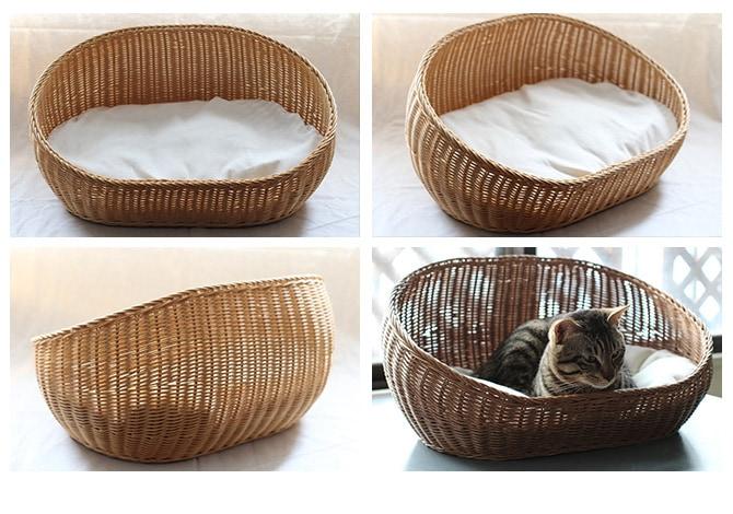 ラタン オーバルベッド  キャットベッド 猫用ベッド ベッド ハウス クッション 犬用 かわいい おしゃれ 猫用 ネコ いぬ 犬 イヌ
