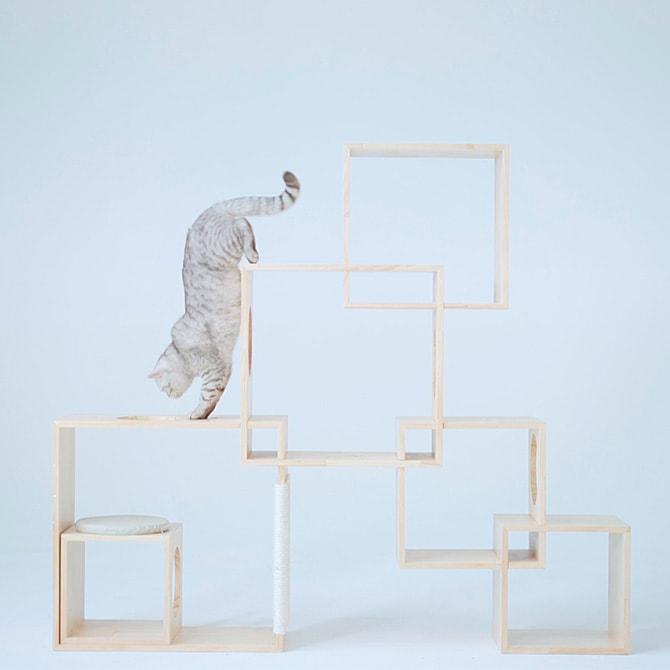 Geometric Cat Tree / Large(6Box) 天然木のボックス型キャットタワー