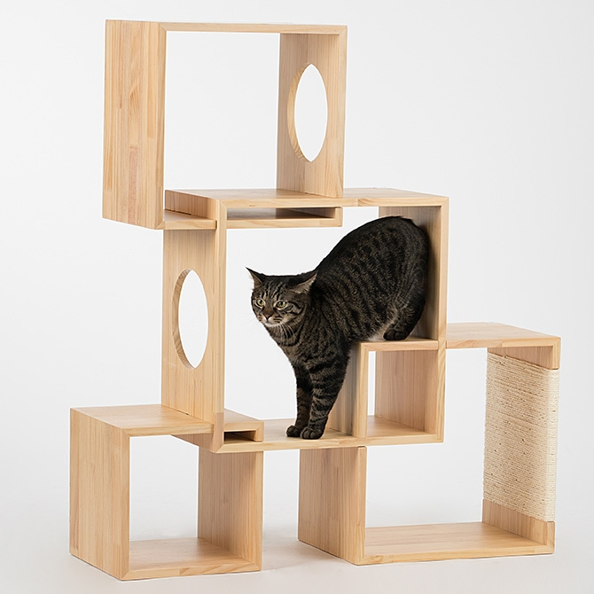 Geometric Cat Tree / Middle(4Box) 天然木のボックス型キャットタワー