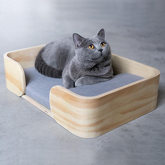 Rectangle Cat Bed 木製のレクタングル型猫用ベッド