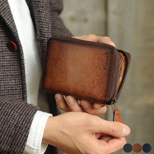 二つ折り財布 ラウンドファスナー メンズ 本革 Lugard G-3