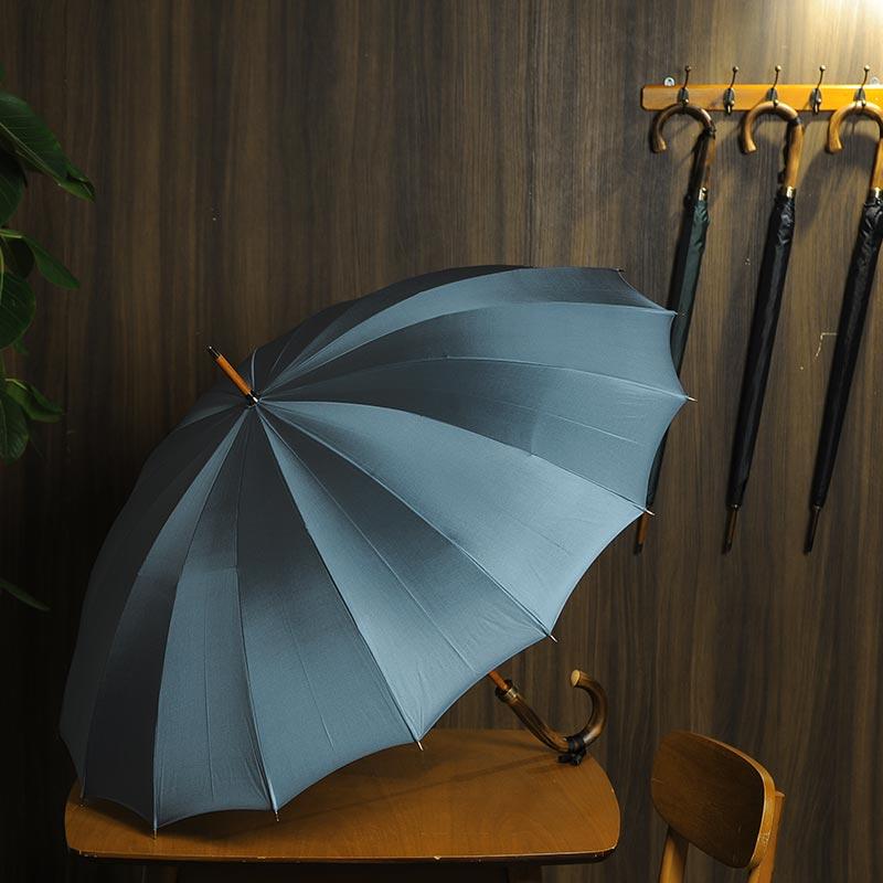 メンズ 雨傘 高級 16本骨傘 60cm 籐持ち手 TRAD-16