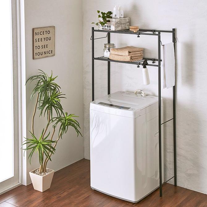 角パイプ洗濯機棚 マットブラック