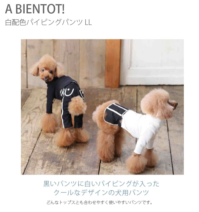 A BIENTOT! アビエント 白配色パイピングパンツ LLサイズ  犬 服 パンツ ブラック ズボン ボトム アパレル ウェア ドッグウェア
