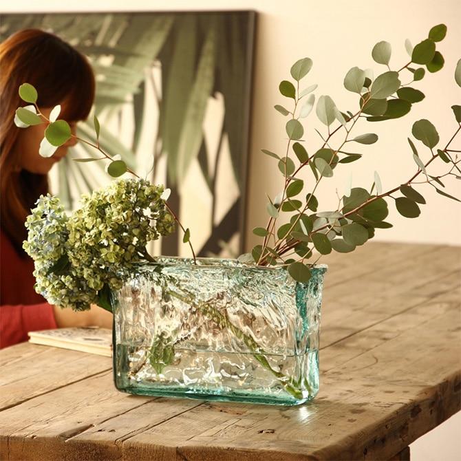 VALENCIA リサイクルガラス フラワーベース DIEZ