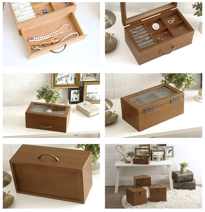 ナチュラルウッド ジュエリーボックス  木製 ジュエリー 宝石箱 ジュエルボックス コレクションボックス 姫系 おしゃれ かわいい シンプル ナチュラル