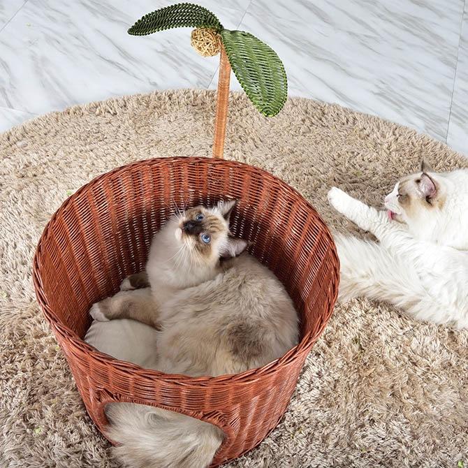 N4-style ラタンキャッツポット  猫用 ベッド ペットベッド ラタン ナチュラル ブラウン 可愛い 面白い