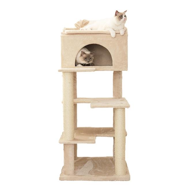 Mau マウ キャットタワー ゴージャス  キャットタワー タワー 猫用 ハウス 上下運動 据え置き 大型猫 大きい 安定感 大型