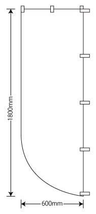R型のぼり64×260cm