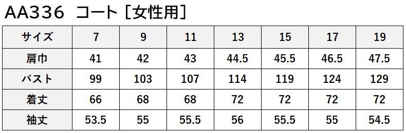 AA336-8のサイズ表