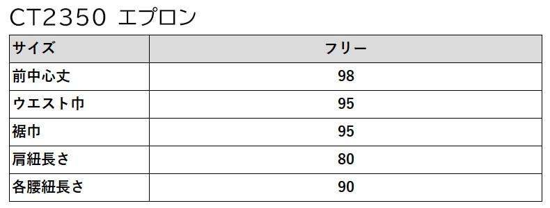 CT2350のサイズ表