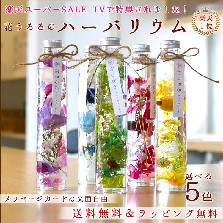 送料無料 花うるるのハーバリウム ギフト プレゼントに最適 プリザーブドフラワー ボトル 5色