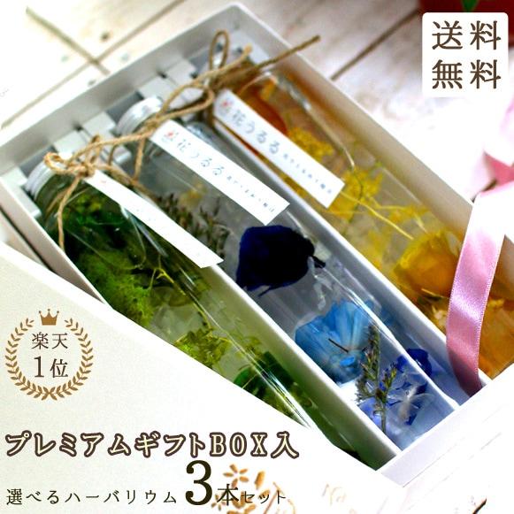 【高級ギフトボックス入り】【3本セット】ハーバリウム  ボトル詰め合わせ 内祝 内祝い